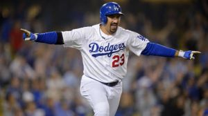 Dodgers Adrian Gonzalez Flying 8.14.13