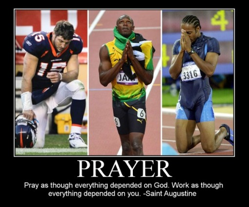 athletes praying