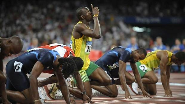 Usain Bolt in starting blocks
