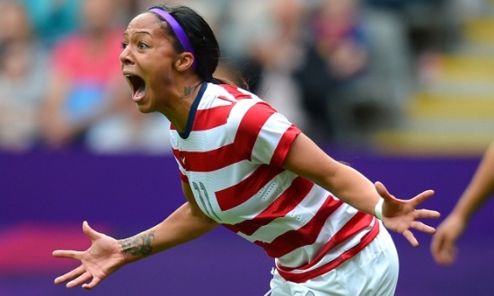 United States's forward Sydney Leroux celebrates after scoring the second goal during the London 2012 Olympic Games women's football match between the USA and New Zealand at St James' Park in Newcastle, north-east England on August 3, 2012. AFP PHOTO / ANDREW YATESANDREW YATES/AFP/GettyImages