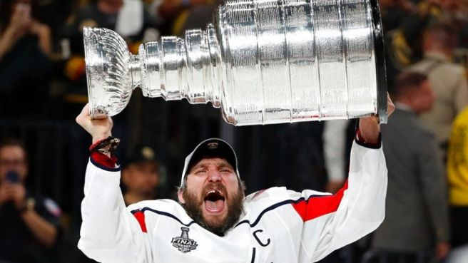 Ovechkin Lifting Stanley Cup Trophy